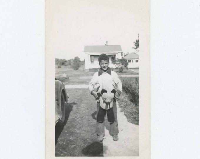Vintage Snapshot Photo: Boy with Panda Teddy Bear, c1940s [82653]