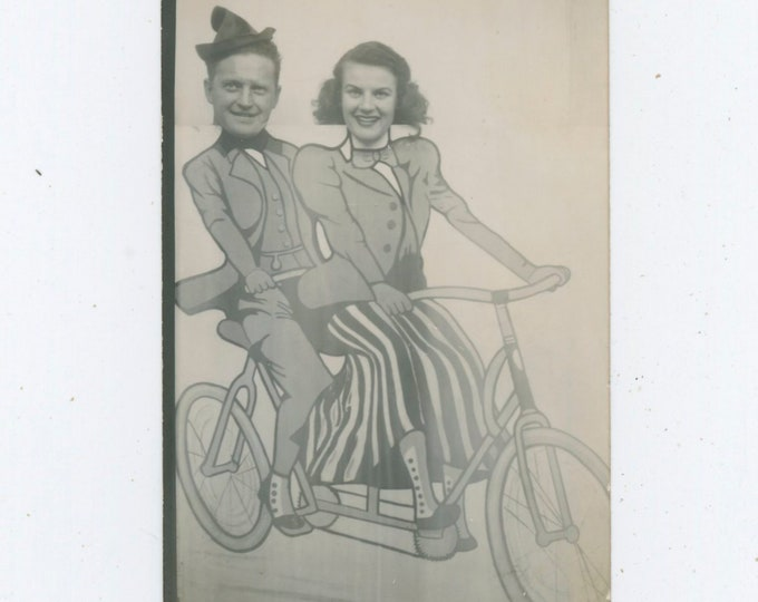 Vintage Arcade Prop Photo: On a Bicycle Built for Two, c1950s [812758]
