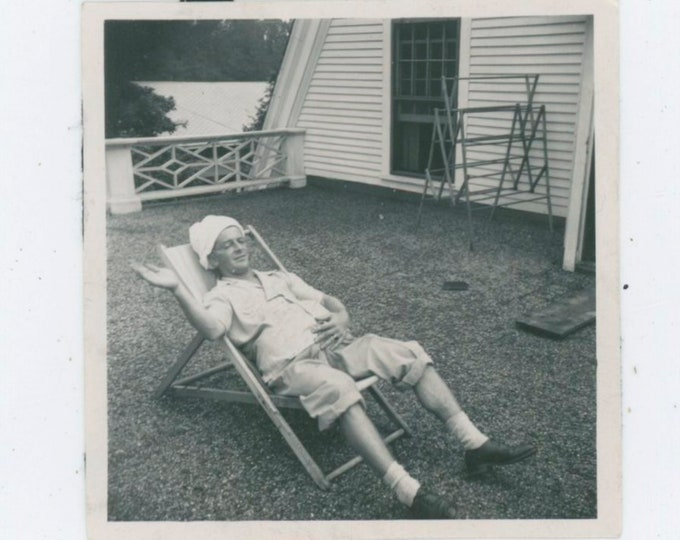 Pregnant?! Man in Lawn Chair, c1940s Vintage Snapshot Photo [91766]