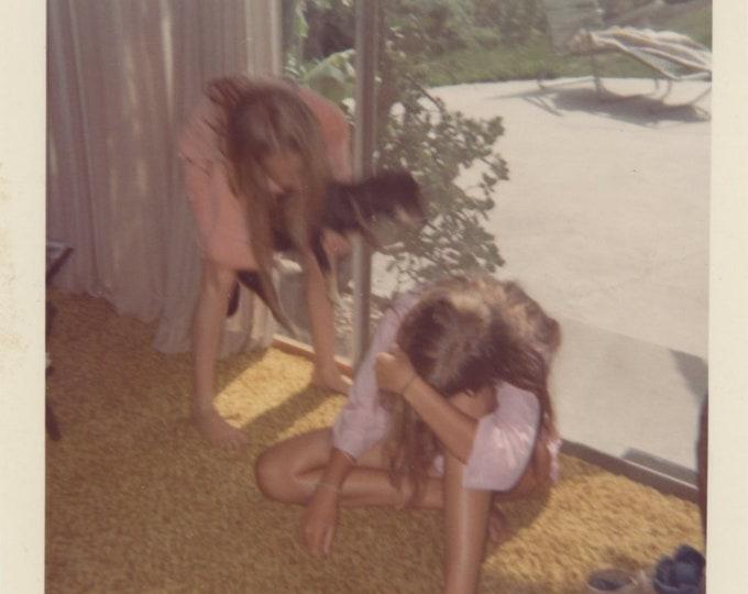 Vintage Snapshot Photo: Two Girls, Dog (87700)