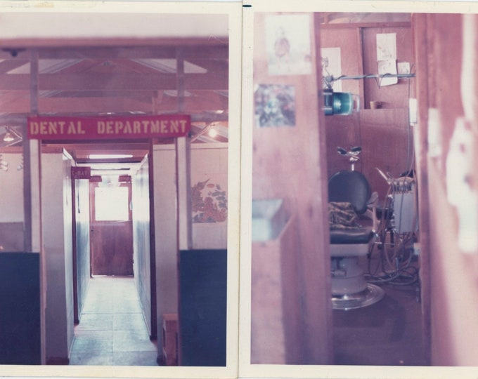 Pair of Vintage Snapshot Photos [Diptych]: Dental Department, c1970s [91765]