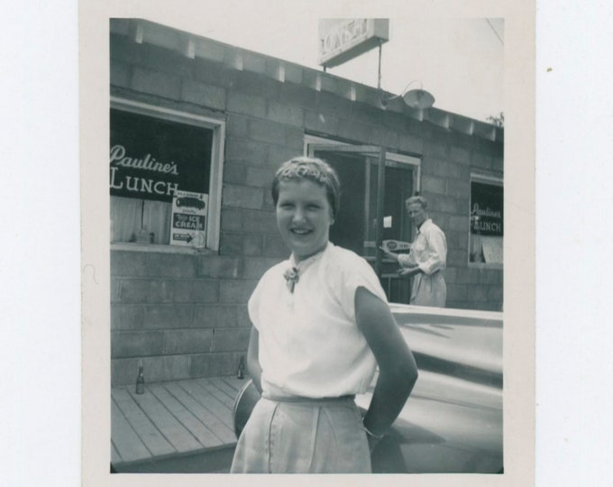 At Pauline's Lunch Counter, June 1951: Vintage Snapshot Photo [811742]