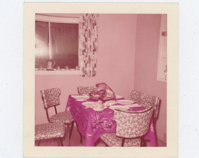 Vintage 1958 Kodacolor Print Snapshot Photo: Turkey on Dinette Table [811737]