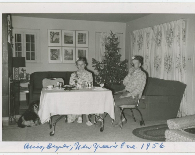 Desultory New Year's Eve Celebration, 1956 Vintage Snapshot Photo [93793]