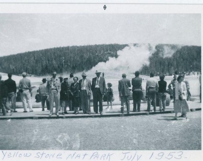 Vintage Snapshot Photo: Tourists at Old Faithful, Yellowstone, 1953 [811738]