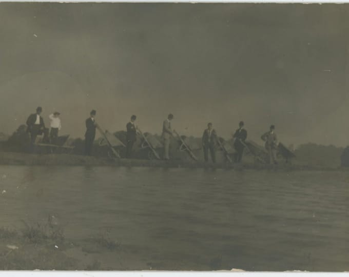 Vintage Snapshot Photo: Smartly Dressed Men At Water's Edge with Tipped Wheelbarrows [89727]