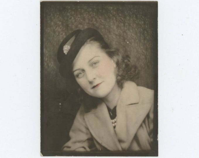 Vintage Tinted Enlarged Arcade/Photo Booth, c1940s: Young Woman [81642]