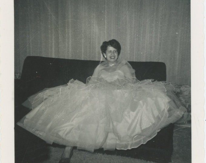 Vintage Snapshot Photo: Voluminous Gown, 1955 [811743]