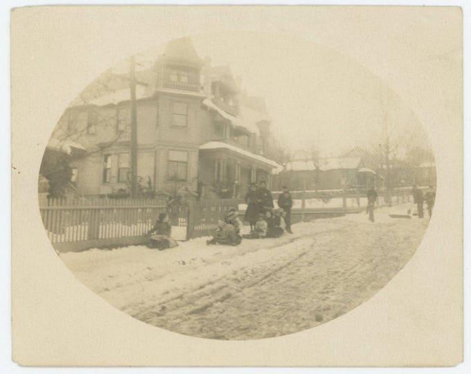 "Vintage Snapshot Photo: ""The first storm, Jan. 24, 1903. Some children coasting on sidewalk"" (710616)"