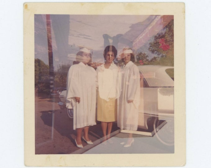 Double Exposure: Grads and Inverted Boy in Tux, 1960s Vintage Photo Snapshot (75584)