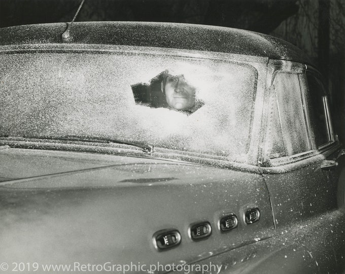 Frozen Windshield, c1950s. Restored and Enlarged Archival Photo Reprint from the RetroGraphic Gallery Collection