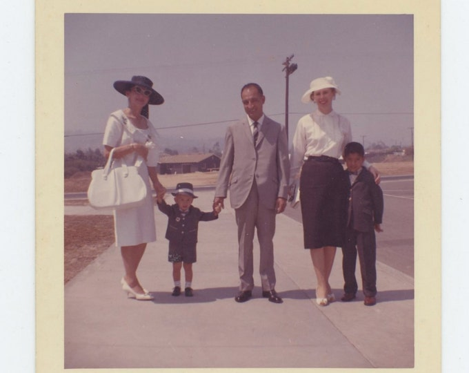 Vintage Snapshot Photo: Family Posed on Sidewalk, c1960s [71540]
