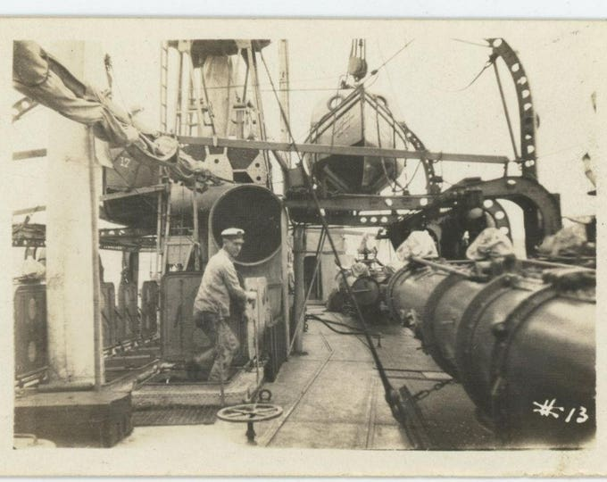 Vintage Snapshot Photo: Ship's Deck [82649]