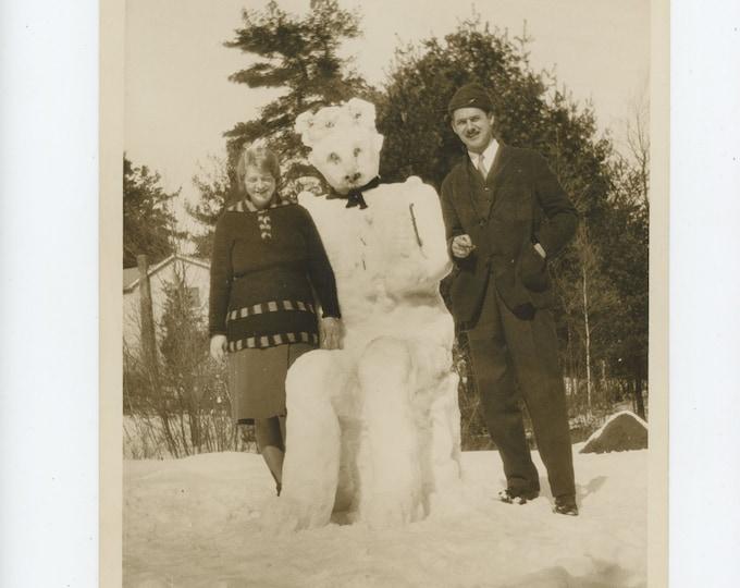 Vintage Snapshot Photo Enlargement: Snowman, c1930s [89727 O/S]