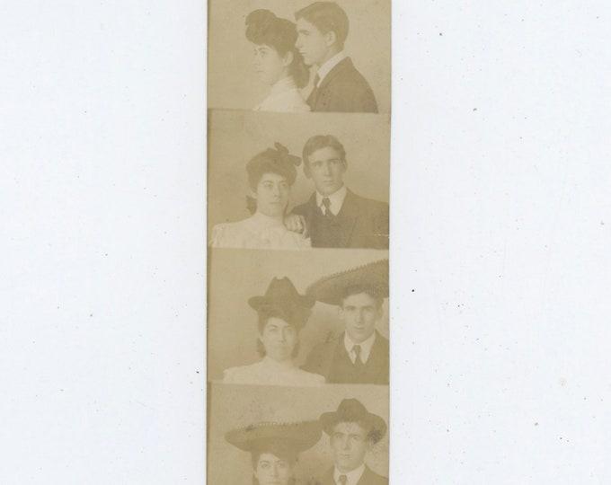 Vintage Arcade/Studio Photo Strip: Couple Exchange Hats, c1910s [810736]