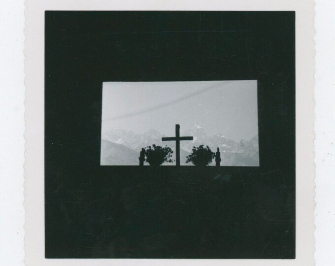 Vintage Snapshot Photo: Cross in Window & View of Mountains [91768]