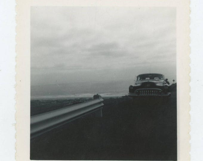 Vintage Snapshot Photo: Buick, Guard Rail, 1950s [82650]