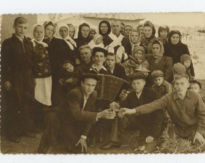 Vintage Snapshot Photo: Villagers' Celebration, Ukraine, 1930s [89728]