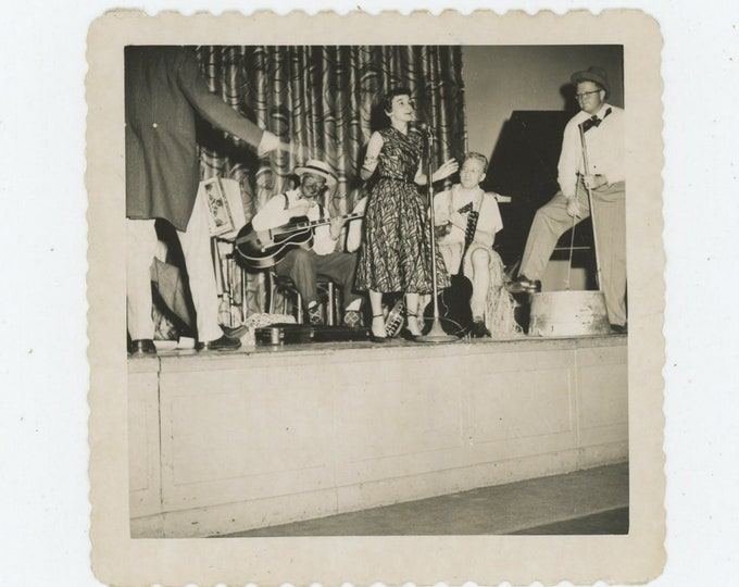 Skiffle Group on Bandstand, c1950s: Vintage Snapshot Photo (88709)