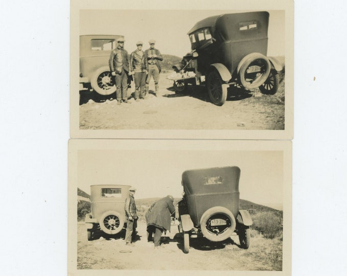 Set of 2 Vintage Snapshot Photos: Car Picnic, 1920s [84667]