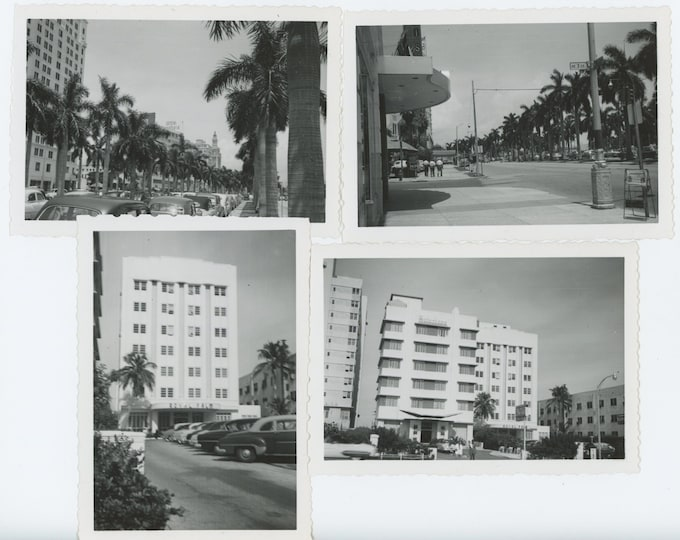 Biscayne Blvd. Miami, FL; Royal Palm Hotel, c1950s: Set of 4 Vintage Snapshot Photos (71537)