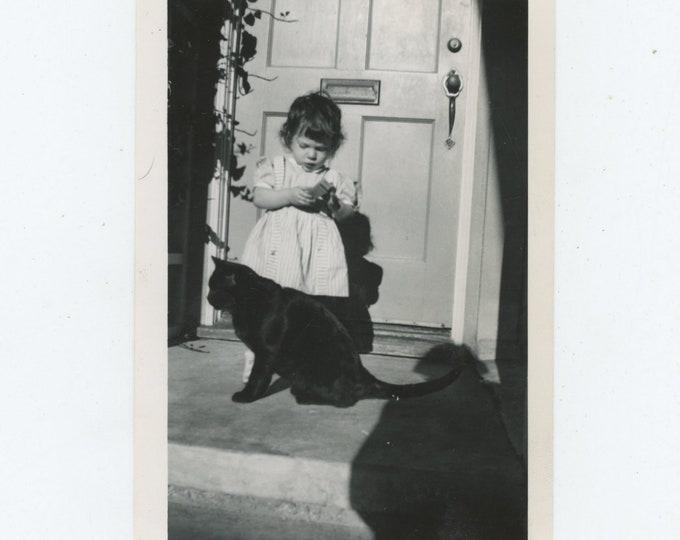 Vintage Snapshot Photo: Small Girl, Black Cat & Shadow [86695]