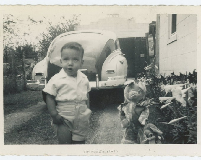 Vintage Snapshot Photo: Boy in Driveway with Stuffed Animals, 1950 (73554)
