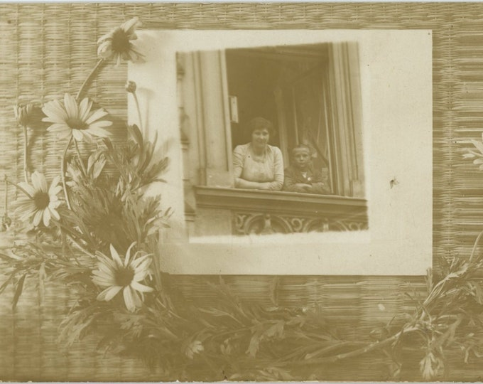 Vintage Snapshot Photo RPPC: At the Balcony Window, A Photo of a Photo [83657]