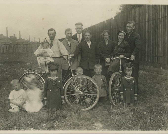 Vintage Snapshot Photo: Family Portrait with Bicycles, c1920s  (87701)