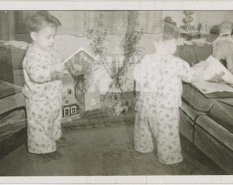 Double Exposure, Small Boy in Pajamas: Vintage Snapshot Photo [85678]