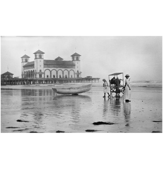 Johnston Vintage Photo Reprint Woman Diving from Pier Coney Island 1892 J.S