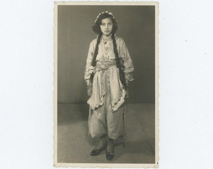 Vintage Portrait Photo: Girl in Traditional Folk Dress, Turkey, 1930s [86696]