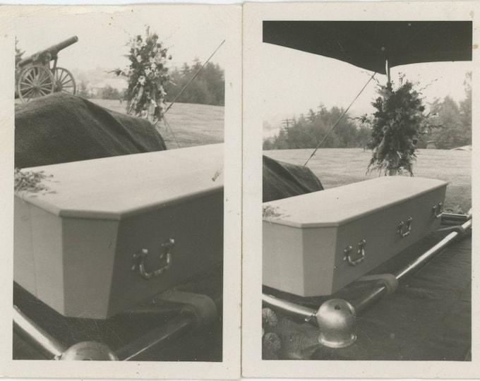 Set of 2 Vintage Snapshot Photos: Grave Site, Cannon [83655]