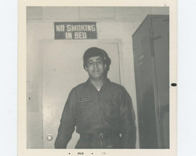 """Vintage Snapshot Photo: """"No Smoking in Bed"""" 1973 (73554)"""