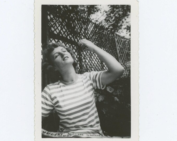 Vintage Snapshot Photo: Woman in Striped Shirt, c1940s-50s (610514 )