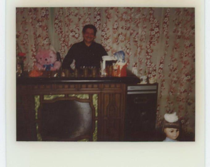 Vintage Kodak Instant Snapshot Photo: Home Bar, Teddy Bear & Doll (711623)