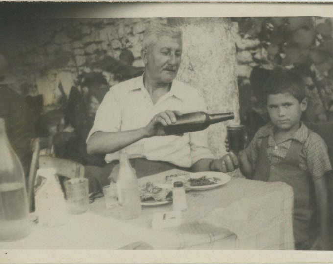 Vintage Snapshot Photo: Drinking with Grandpa, Turkey, 1951 [86694]