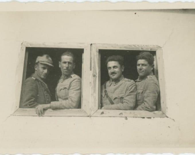 Vintage Snapshot Photo: Soldiers in Window, Istanbul (87701)