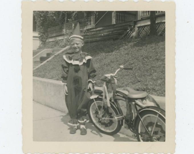 Vintage Snapshot Photo: Boy Clown & Bike, July 15, 1955 (87698)