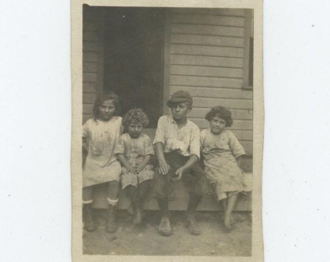 Vintage Snapshot Photo: Kids on Front Porch, c1920s-30s (87698)