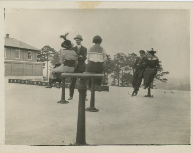 Vintage Snapshot Photo: On Perches, c1910s-20s [86687]