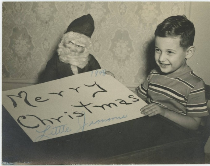 Vintage Snapshot Photo: Merry Christmas, Little Jimmie, 1948 [82652]