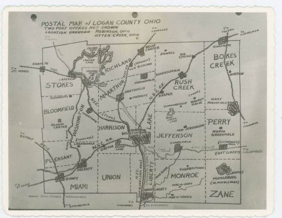 Vintage Snapshot Photo Postal Map Of Logan County Ohio Etsy