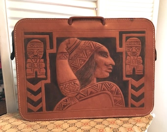 Vintage 50s Hand Tooled Leather Briefcase / Guatemalan Peruvian Aztec Design