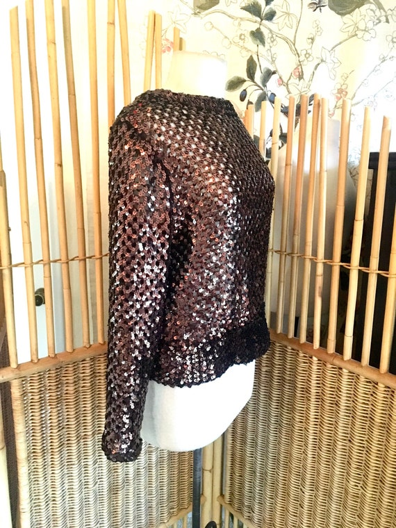 Vintage 70s Lilli Diamond Brown Sequin Top - image 3