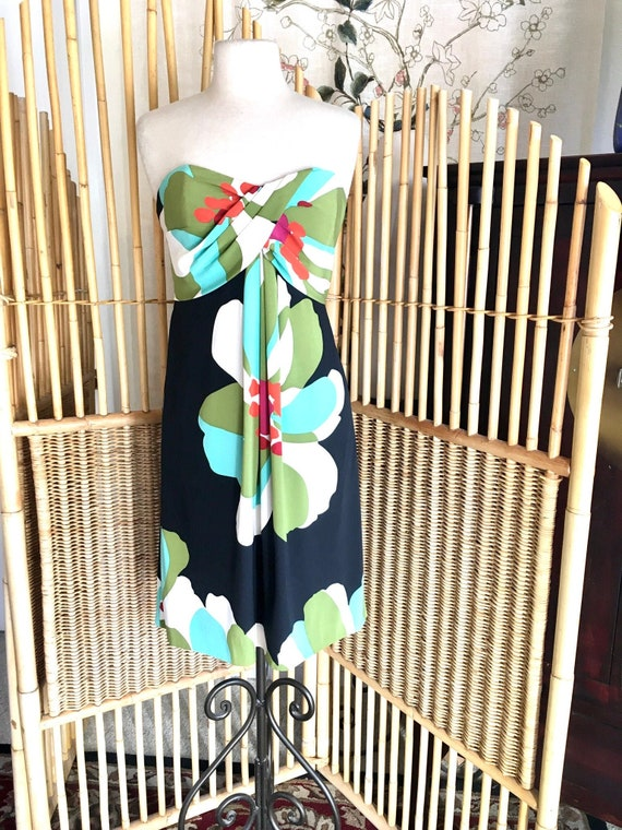 Vintage Nicole Miller Strapless Silk Dress in Flor