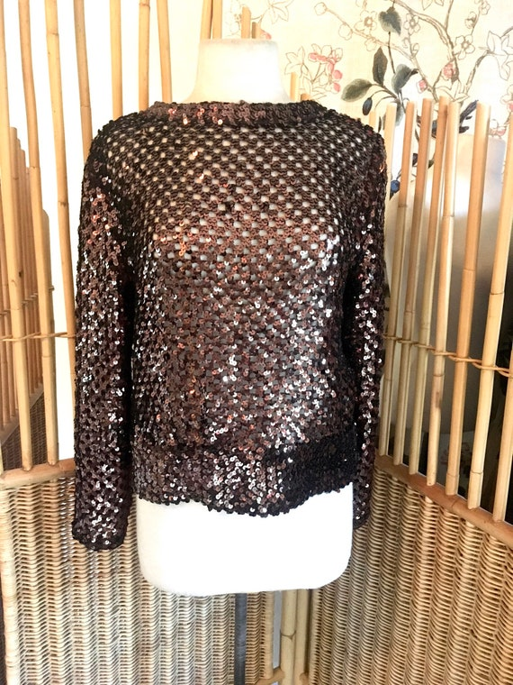 Vintage 70s Lilli Diamond Brown Sequin Top - image 2