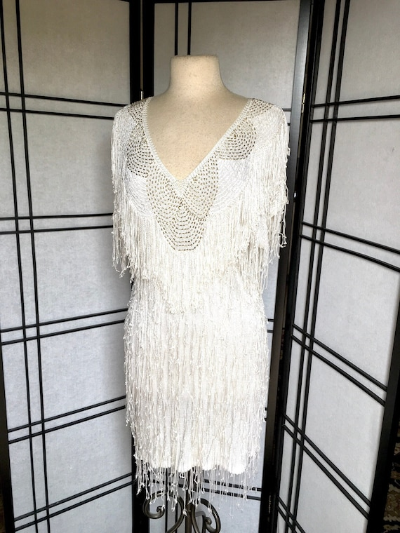 Vintage 80s Beaded Knit Dress Fringed Knit Dress