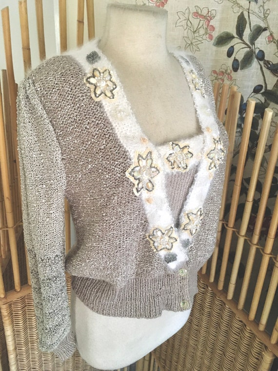 Vintage 80s Rare Two Piece Hand Knit Sweater Set b