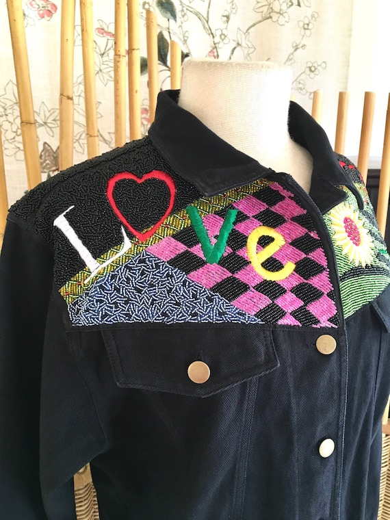 Vintage 80s Kolorway Black Denim Beaded Jacket OOA